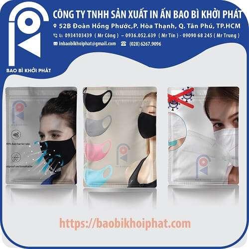 bao bì đựng khẩu trang y tế, 3d mask, vải