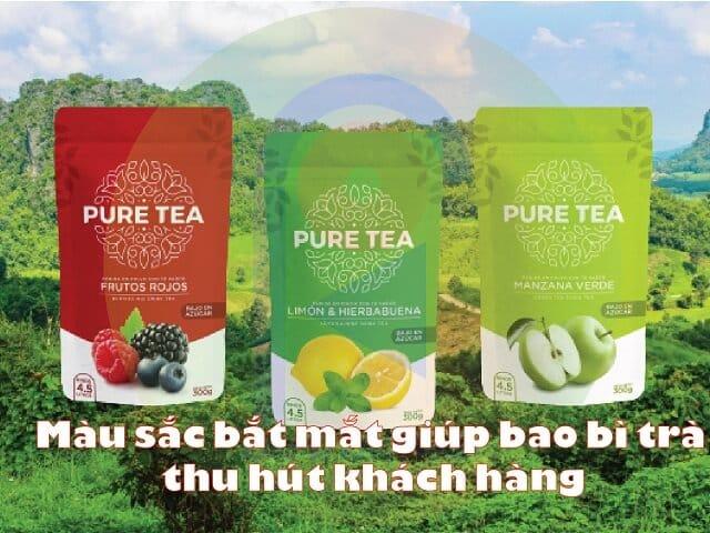 bao bì trà thiết kế màu sắc ấn tượng thu hút khách hàng