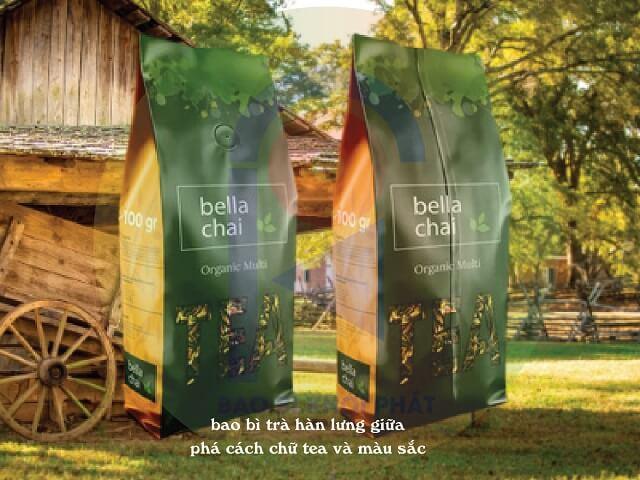 phong cách điểm nhấn chữ tea và màu sắc cho bao bì trà