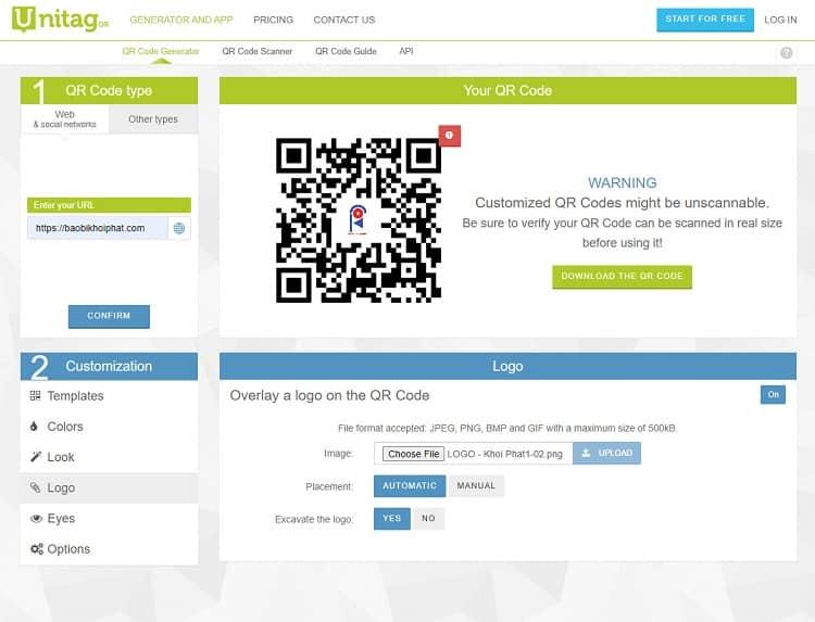 Trang web tạo mã QR miễn phí đẹp