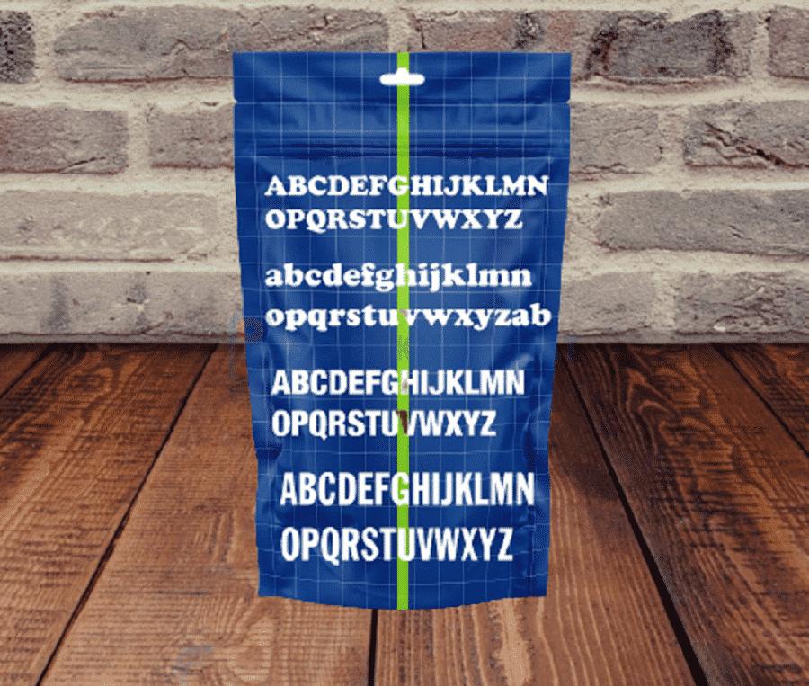 Mẫu túi zipper dùng font chữ đẹp