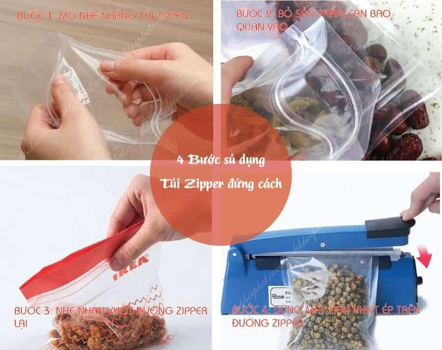 4 Bước Sử dụng túi zipper đúng cách